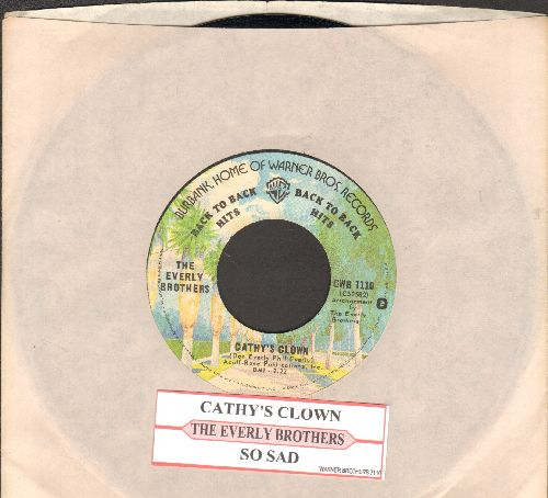 Everly Brothers - Cathy's Clown/So Sad (early double-hit re-issue with Warner Brothers company sleeve) - EX8/ - 45 rpm Records