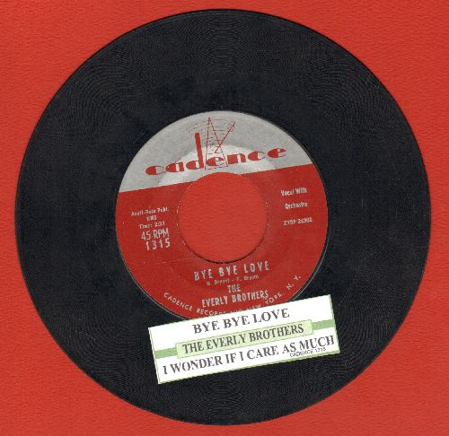 Everly Brothers - Bye Bye Love/I Wonder If I Care As Much (with juke box label) - EX8/ - 45 rpm Records