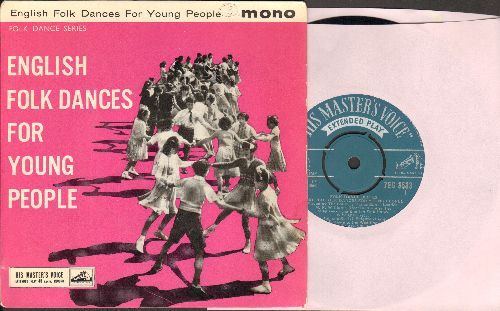 Country Dance Band - English Folk Dances For Young People: Durham Reel/Ribbon Dance/Brighton Camp/Sicilian Circle/Haste To The Wedding (vinyl EP record with picture cover, British Pressing with removable spindle adaptor) - NM9/EX8 - 45 rpm Records