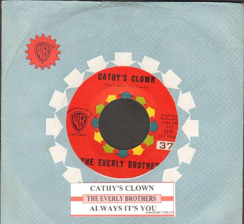 Everly Brothers - Cathy's Clown/Always It's You (with juke box label and Warner Brothers company sleeve) - EX8/ - 45 rpm Records
