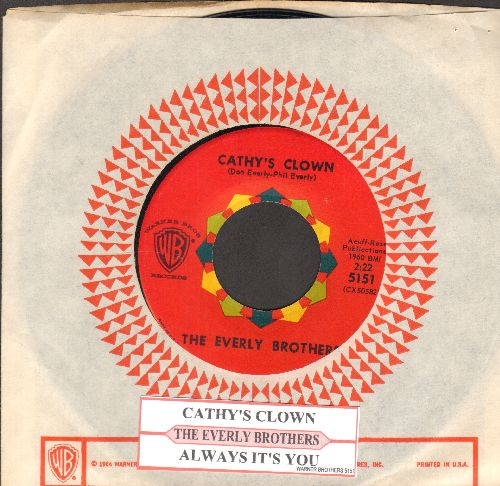 Everly Brothers - Cathy's Clown/Always It's You (with juke box label and Warner Brothers company sleeve) - NM9/ - 45 rpm Records