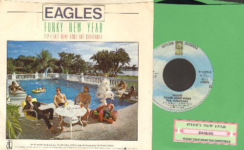 Eagles - Please Come Home For Christmas/Funky New Year (with picture sleeve and juke box label) - NM9/EX8 - 45 rpm Records