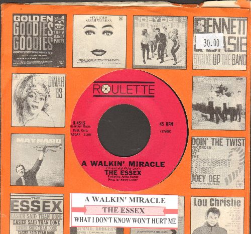 Essex - A Walking Miracle/What I Don't Know Won't Hurt Me (pink label early pressing with juke box label and Roulette company sleeve)  - EX8/ - 45 rpm Records