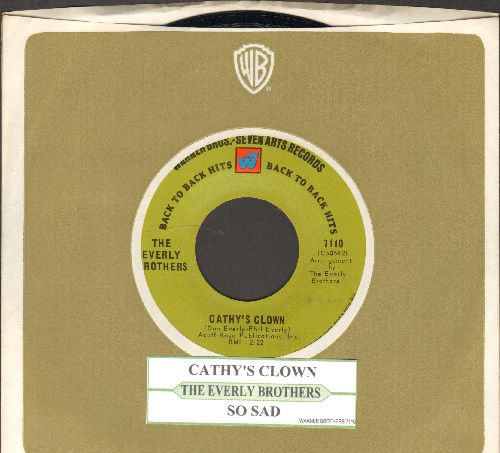 Everly Brothers - Cathy's Clown/So Sad (solid green label early double-hit re-issue with juke box label and Warner Brothers company sleeve) - NM9/ - 45 rpm Records