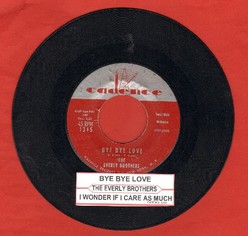 Everly Brothers - Bye Bye Love/I Wonder If I Care As Much (with juke box label) - VG7/ - 45 rpm Records