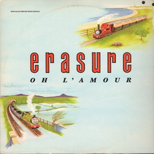 Erasure - Oh L'Amour (5:55 minutes Remix)/March On Down The Line (6:04 minutes)/Gimme! Gimme! Gimme! (3:53 minutes) (12 inch vinyl Maxi Single with picture cover) - M10/EX8 - LP Records