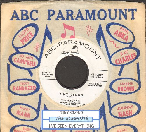 Elegants - Tiny Cloud/I've Seen Everything (RARE Vintage Rock & Roll 2-sider, DJ advance pressing with juke box label and ABC-Paramount company sleeve) - NM9/ - 45 rpm Records