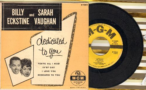 Eckstine, Billy & Sarah Vaughan - Dedicated To You/You're All I Need/Ev'ry Day/I Love You (vinyl EP record with picture cover) - VG7/EX8 - 45 rpm Records