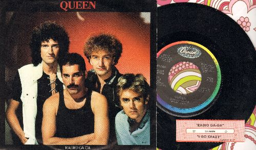 Queen - Radio Ga-Ga/I Go Crazy (with juke box label and picture sleeve) - EX8/EX8 - 45 rpm Records