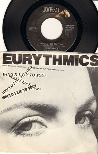 Eurythmics - Would I Lie To You?/Here Comes That Sinking Feeling (with picture sleeve) - NM9/EX8 - 45 rpm Records