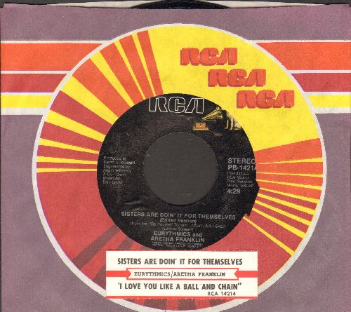 Eurythmics & Aretha Franklin - Sisters Are Doin' It For Themselves/I Love You Like A Ball And Chain (with juke box label and RCA company sleeve) - NM9/ - 45 rpm Records