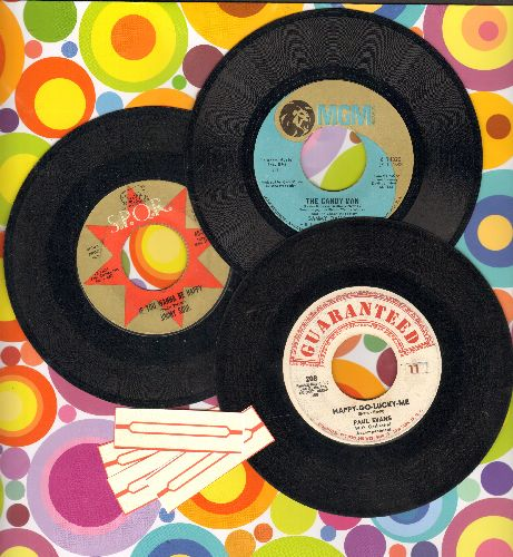 Davis, Sammy Jr., Paul Evans, Jimmy Soul - Happy Vintage 3-Pack: First issue original pressing of hits Candy Man, Happy-Go-Lucky-Me and If You Wanna Be Happy. Shipped in plain white paper sleeves with 4 blank juke box labels. - EX8/ - 45 rpm Records