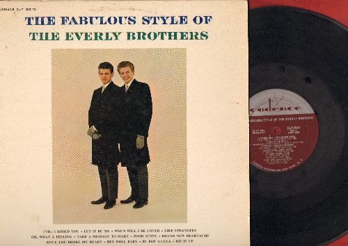 Everly Brothers - The Fabulous Style Of The Everly Brothers: Let It Be Me, When Will I Be Loved, Hey Doll baby, ('Til) I Kissed You, Be Bop A-Lula (Vinyl MONO LP record, burgundy label first issue) - VG7/VG7 - LP Records