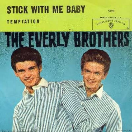 Everly Brothers - Temptation/Stick With Me Baby (with picture sleeve) - EX8/VG7 - 45 rpm Records