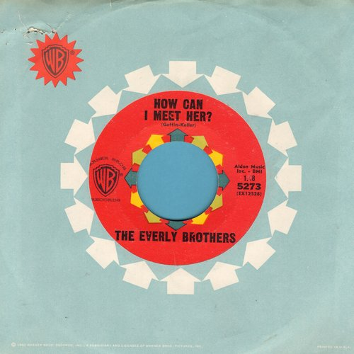 Everly Brothers - How Can I Meet Her/That's Old Fashioned (with picture sleeve) (wol) - NM9/EX8 - 45 rpm Records