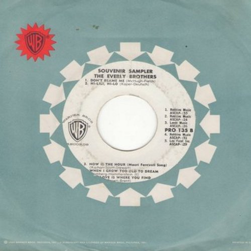 Everly Brothers - Souvenir Sampler - The Everly Brothers (RARE Promo Pressing featuring 10 short samplings of Everly Brothers recordings, with vintage Warner Brothers company sleeve) (wol) - EX8/ - 45 rpm Records