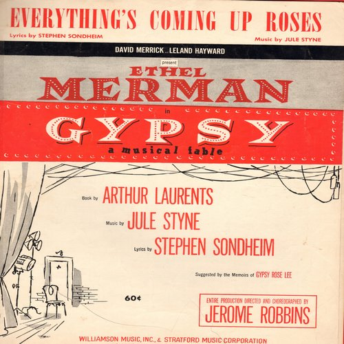 Merman, Ethel - Everything's Coming Up Roses - SHEET MUSIC for the song from Broadway Production -Gypsy-, made famous by Ethel Merman. - VG7/ - Sheet Music