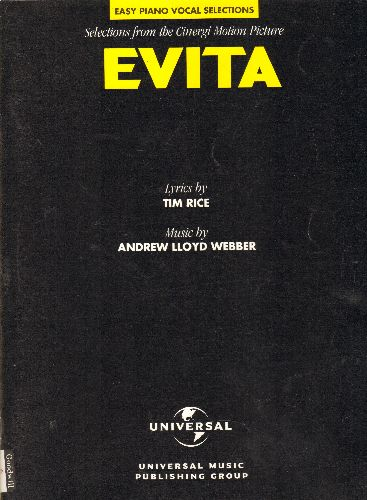 Webber, Andrew Lloyd, Tim Rice - Evita - SHEET MUSIC Song Book with 12 Easy Piano Vocal Selection from the Motion Picture, more than 50 pages - NM9/ - Sheet Music