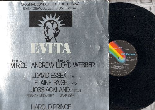 Webber, Andrew Lloyd - Evita - Premiere American Recording of the Broadway Hiy, lyrics by Tim Rice, music by Abdrew Lloyd Webber (vinyl STEREO LP record, gate-fold cover, GERMAN Pressing) - NM9/NM9 - LP Records