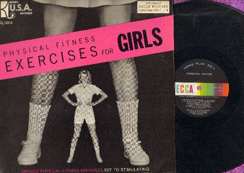 Bucher, Dr. Charles A. - Physical Fitness Exercises For Girls - Graded Physical Fitness Exercises, set to stimulating Music, narrated by Dr. Charles A Bucher (vinyl MONO LP record) - NM9/NM9 - LP Records