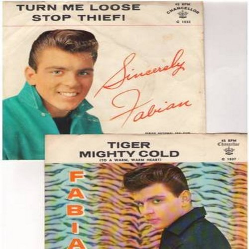 Fabian - 2 for 1 Special: Turn Me Loose/Tiger (2 original first issue 45rpm records with picture sleeve for the price of 1!) - EX8/VG7 - 45 rpm Records