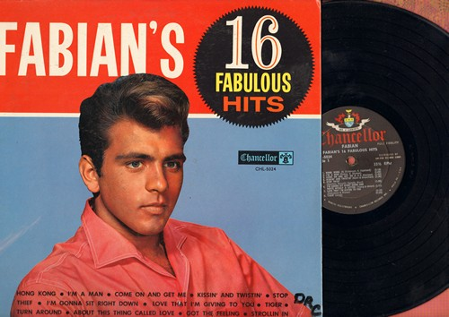Fabian - Fabian's 16 Fabulous Hits: Kissin' And Twistin', Tiger, String Along, Turn Me Loose, I'm A Man (Vinyl MONO LP record) - EX8/VG7 - LP Records