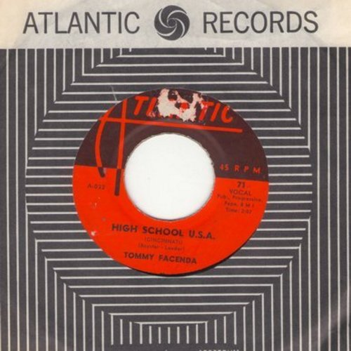 Facenda, Tommy - High School U.S.A. (Cincinnati Version)/Plea Of Love (with vintage Atlantic company sleeve)  - VG7/ - 45 rpm Records