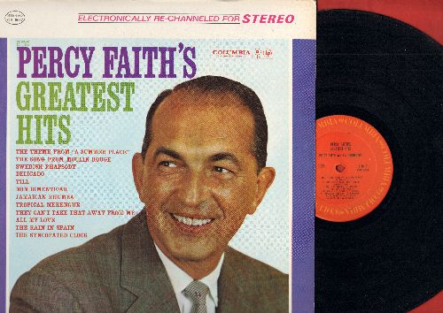 Faith, Percy - Greatest Hits: Theme From A Summer Place, Song From Moulin Rouge, Jamaican Rhumba, The Rain In Spain, Tropical Merengue, Till, Swedish Rhapsody (Vinyl STEREO LP record, 1980's pressing) - NM9/NM9 - LP Records