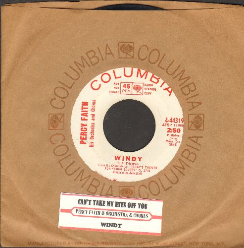 Faith, Percy & His Orchestra & Chorus - Can't Take My Eyes Off You/Windy (DJ advance pressing with juke box label and Columbia company sleeve) - EX8/ - 45 rpm Records