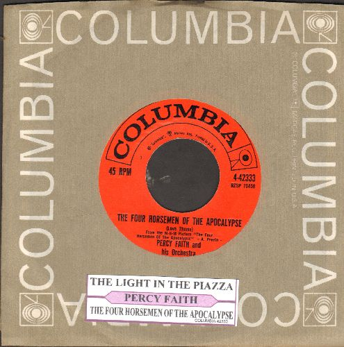 Faith, Percy & His Orchestra - The Four Horsemen Of The Apocalypse/The Light In The Piazza (with juke box label and Columbia company sleeve) - NM9/ - 45 rpm Records