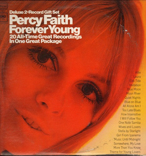 Faith, Percy & His Orchestra - Forever Young - 20 All-Time Great Recordings: Blue Moon, Girl From Ipanema, Moon River, Alfie, Wives And Lovers (2 vinyl STEREO LP record set, gate-fold cover) - NM9/EX8 - LP Records