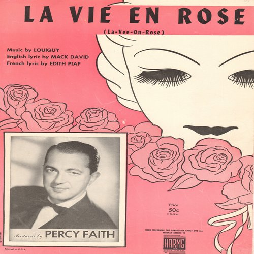 Piaf, Edith - La Vie En Rose - SHEET MUSIC for the song made famous by Edith Piaf, NICE cover art, suitable for framing! (This is SHEET MUSIC, not any other kind of media!) - EX8/ - Sheet Music