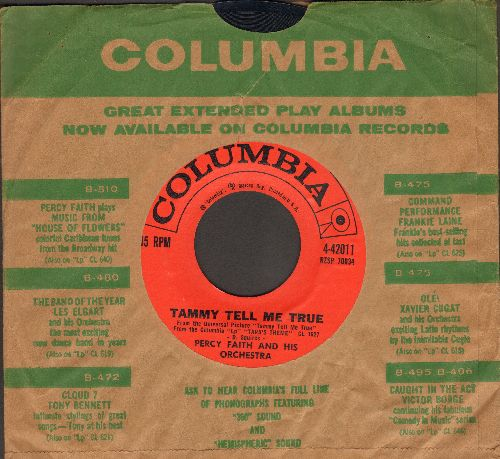 Faith, Percy & His Orchestra - Tammy Tell Me True/Theme From -The Last Time I Saw Archie- (with Columbia company sleeve) - NM9/ - 45 rpm Records