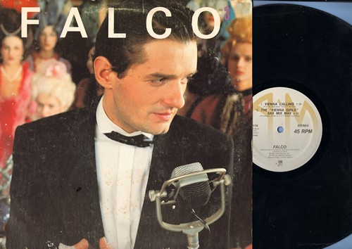 Falco - Vienna Calling (7:38 minutes)/The Vienna Girls Sax Mix (4:59)/Rock Me Amadeus (6:10) (12 inch 45rpm Maxi Single with picture cover) - EX8/VG7 - Maxi Singles