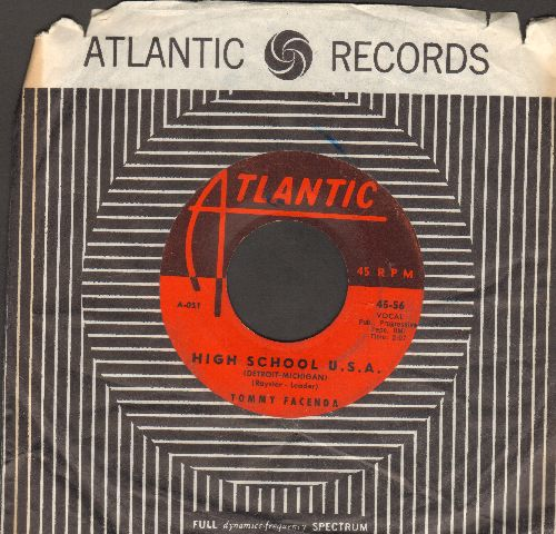 Facenda, Tommy - High School U.S.A. (Detroit Version)/Plea Of Love (with vintage Atlantic company sleeve)  - VG6/ - 45 rpm Records