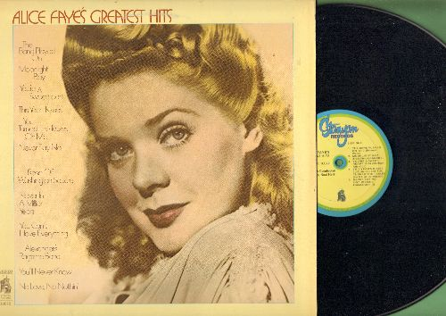 Faye, Alice - Greatest Hits: The Band Played On, Alexander's Ragtime Band, You'll Never Know (vinyl LP record, re-issue of vintage recordings) - NM9/NM9 - LP Records