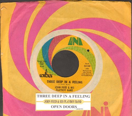 Fred, John & His Playboy Band - Three Deep In A Feeling/Open Doors (with juke box label and company sleeve) (bb) - EX8/ - 45 rpm Records