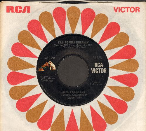 Feliciano, Jose - Light My Fire/California Dreamin' (with RCA company sleeve) - EX8/ - 45 rpm Records