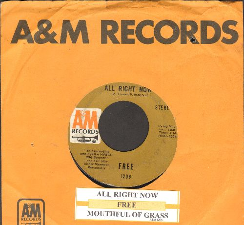 Free - All Right Now/Mouthful Of Grass (with juke box label and company sleeve) - NM9/ - 45 rpm Records