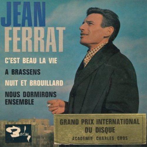 Ferrat, Jean - C'est beau la vie/A brassens/Nuit et Brouillard/Nous dormirons ensemble (vinyl EP record with picture cover, French pressing, sung in French) - EX8/EX8 - 45 rpm Records