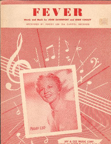 Lee, Peggy - Fever - Vintage SHEET MUSIC for the Peggy Lee Hit (NICE cover portrait of the legendary Singer!) - EX8/ - Sheet Music