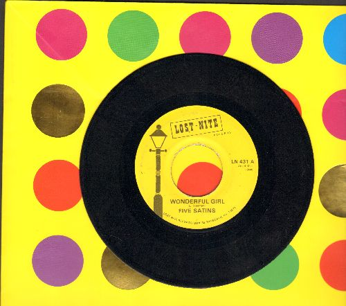 Fiver Satins - Wonderful Girl/Weeping Willow (double-hit re-issue of vintage Doo-Wop recordings) - EX8/ - 45 rpm Records