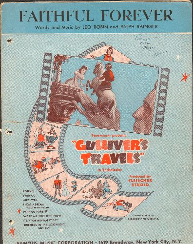 Robin, Leo - Faithful Forever - Vintage SHEET MUSIC for song featured in 1939 film -Gulliver's Travels - VG6/ - Sheet Music