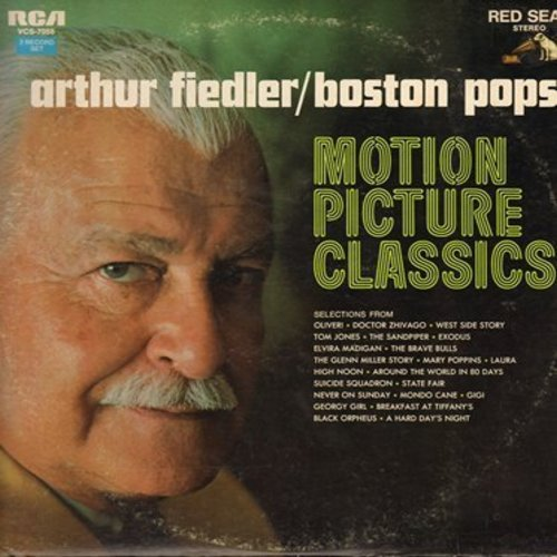 Fiedler, Arthur & Boston Pops - Motion Picture Classics: Lara's Theme, Exodus, Chim Chim Cher-ee, Georgy Girl, High Noon, Moon River (2 vinyl STEREO LP record set, gate-fold cover) - NM9/EX8 - LP Records