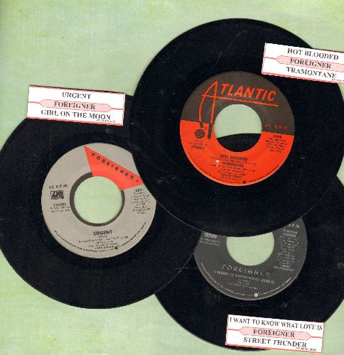 Foreigner - 3-Pack of first issue 45s, includes hits Hot Blooded/I Want To Know What Love Is/Urgent. Shipped in plain paper sleeves, with juke box labels. GREAT for a juke box! - EX8/ - 45 rpm Records
