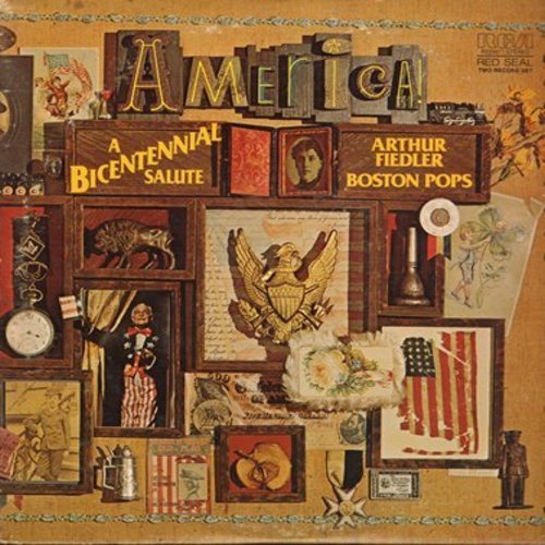 Fiedler, Arthur & The Boston Pops - America! - A Bicentennial Salute: Stars And Stripes Forever, Yankee Doodle, Home On The Range, Shannandoah, American patrol (2 vinyl STEREO LP records, gate-fold cover) - M10/EX8 - LP Records