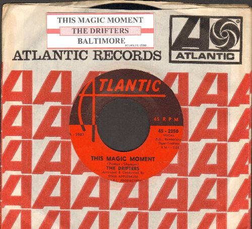 Drifters - This Magic Moment/Baltimore (first pressing with juke box label and Atlantic company sleeve) - EX8/ - 45 rpm Records