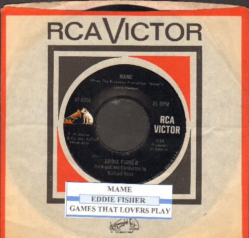 Fisher, Eddie - Mame/Games That Lovers Play (with juke box label and vintage RCA company sleeve) - EX8/ - 45 rpm Records