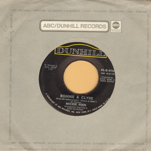 Finn, Mickie - Bonnie & Clyde/Finnian's Alley (with ABC-Dunhill company sleeve) - EX8/ - 45 rpm Records