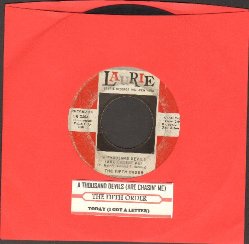 Fifth Order - Today (I Got A Letter)/A Thousand Devils (Are Chasin' Me) (with juke box label) - VG6/ - 45 rpm Records